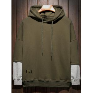 Plus Size Hooded Color Block Panel Raglan Sleeve Hoodie - Vert Armée XL