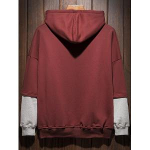 Plus Size Hooded Color Block Panel Raglan Sleeve Hoodie - WINE RED 3XL