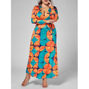Long Sleeve Printed Floor Length Plus Size Dress
