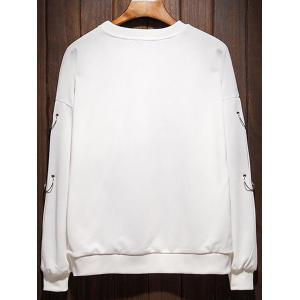 Raglan Sleeve Metallic Loop Embellished Plus Size Sweatshirt - WHITE 3XL