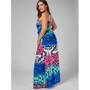 Printed Floor Length Plus Size Strapless Dress -