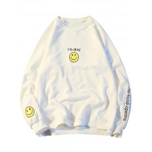 Smile Face Graphic Embroidered Sweatshirt