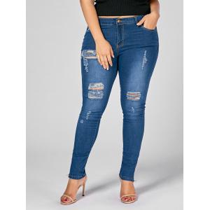 Plus Size Zip Leg Ripped Skinny Jeans - Denim Blue - 2xl