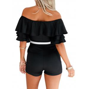 Off The Shoulder Ruffle Romper - Noir L