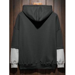 Plus Size Hooded Color Block Panel Raglan Sleeve Hoodie - Noir 4XL