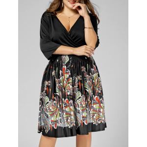 Printed V Neck Plus Size Homecoming Dress