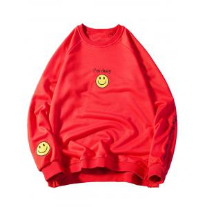 Smile Face Graphic Embroidered Sweatshirt - Red - M