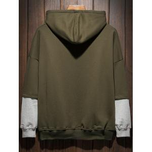 Plus Size Hooded Color Block Panel Raglan Sleeve Hoodie - Vert Armée 4XL