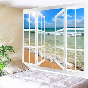 Window Beach Wave Print Tapestry Wall Hanging Art Decoration