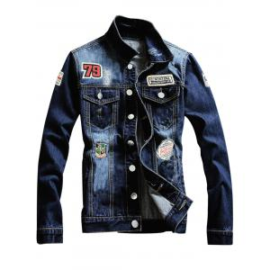 Single Breasted Graphic Appliques Ripped Denim Jacket - Denim Blue - 3xl