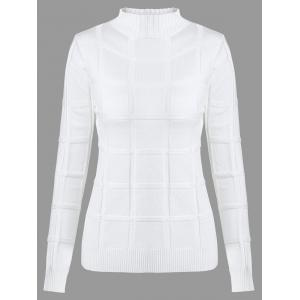 High Neck Long Sleeves Knit Sweater - White - One Size