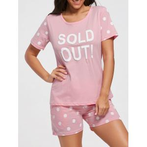 Polka Dot T-shirt Cotton Pajamas Set - Light Pink - 2xl