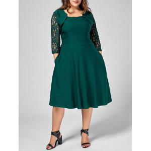 Plus Size Lace Trim A Line Midi Dress
