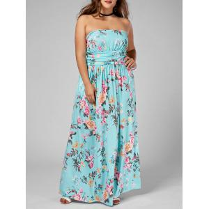 Floor Length Floral Plus Size Bandeau Maxi Dress - Multi - 5xl