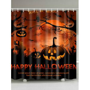Happy Halloween Shower Curtain For Bathroom Decor - Gold Brown - W71 Inch * L79 Inch