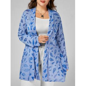 Open Front Feather Print Plus Size Longline Coat