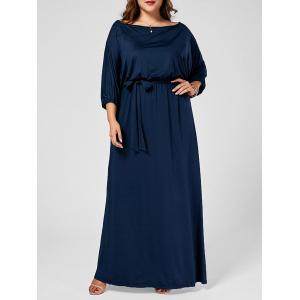 Skew Neck Batwing Plus Size Maxi Dress