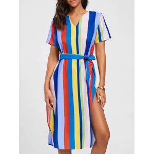 Striped Rainbow Color Slit Midi Dress