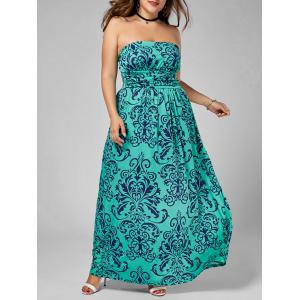 Plus Size Printed Floor Length Strapless Dress