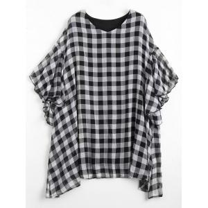 Flounce Checked Plus Size Mini Poncho Dress - Grey And White - One Size