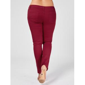 Skinny Plus Size Ripped Jeans - WINE RED XL