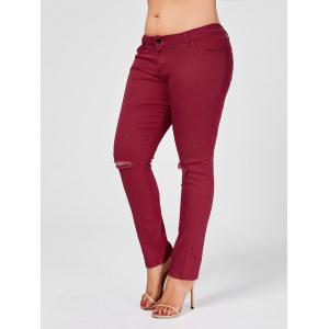 Skinny Plus Size Ripped Jeans - Wine Red - Xl