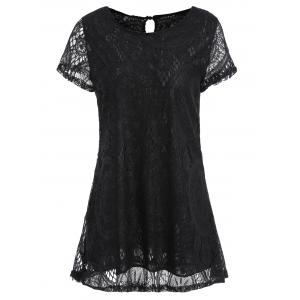 Long Plus Size Short Sleeve Lace Tee