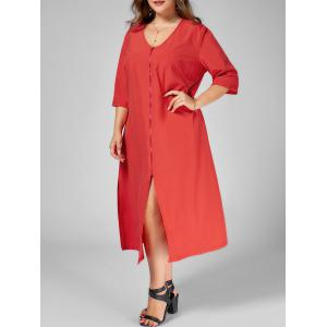 Plus Size Midi Slit Front Zip Dress