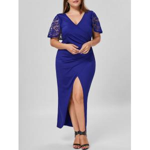 Plus Size Lace Capelet Longline Slit Dress - Blue - 5xl