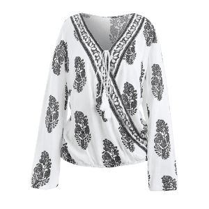 Retro Print Wrap V Neck Blouse - WHITE 2XL