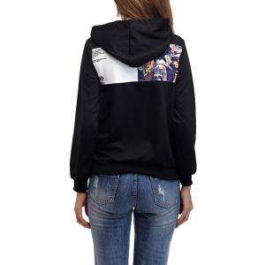 Cartoon Patch Drawstring Graphic Hoodie - BRIGHT BLACK S