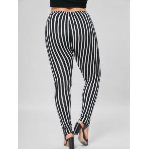 Plus Size Vertical Stripe Tight Pants - BLACK STRIPE XL