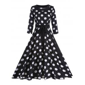 Midi Vintage Polka Dot A Line Dress