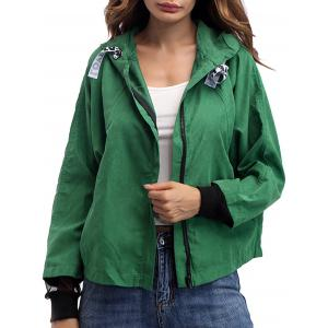 Hooded Drawstring Mesh Panel Jacket - Army Green - S