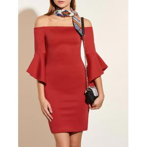 Off The Shoulder Flared Sleeve Pencil Dress