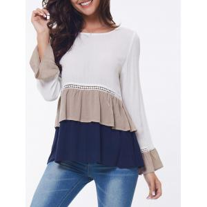 Lace Insert Layered Flounce Long Sleeve Blouse