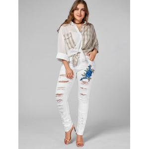 Plus Size Ripped Embroidered Skinny Jeans - WHITE 2XL