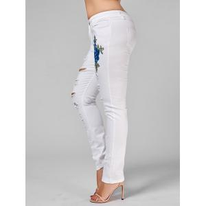 Plus Size Ripped Embroidered Skinny Jeans - WHITE 3XL