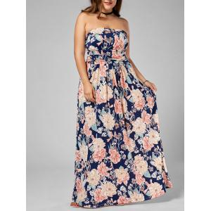 Long Floral Plus Size Strapless Dress - Multi - 2xl
