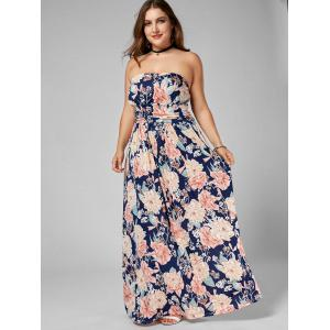 Long Floral Plus Size Strapless Dress - MULTI 3XL