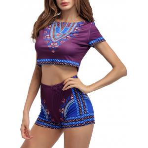 Ethnic Printed Crop Top With High Waisted Shorts