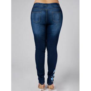 High Waist Plus Size Flower Embroidered Skinny Jeans - DENIM BLUE 3XL