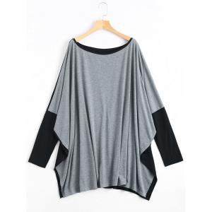 Color Block Plus Size Long Sleeve Poncho T-shirt