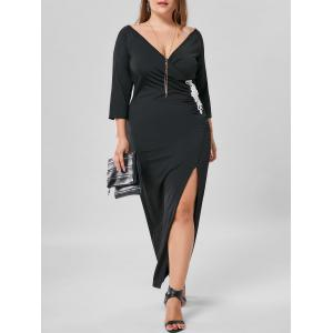 Plus Size Applique Side Slit Maxi Dress