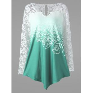 Plus Size Ombre Lace Yoke Top