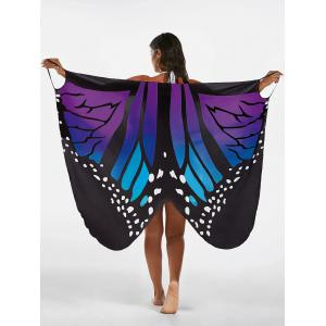 Butterfly Beach Wrap Cover Up Dress - Blue + Purple - Xl