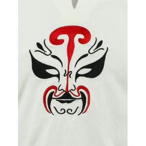 Frog Button Peking Opera Mask Embroidered Tee - OFF-WHITE 3XL