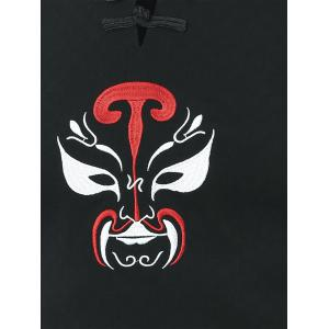 Frog Button Peking Opera Mask Embroidered Tee - BLACK 2XL
