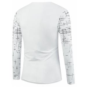 Long Sleeve V Neck Cross Print Tee - WHITE XL