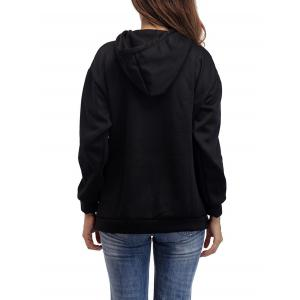 Letter Embroidery Drawstring Graphic Hoodie - BLACK ONE SIZE